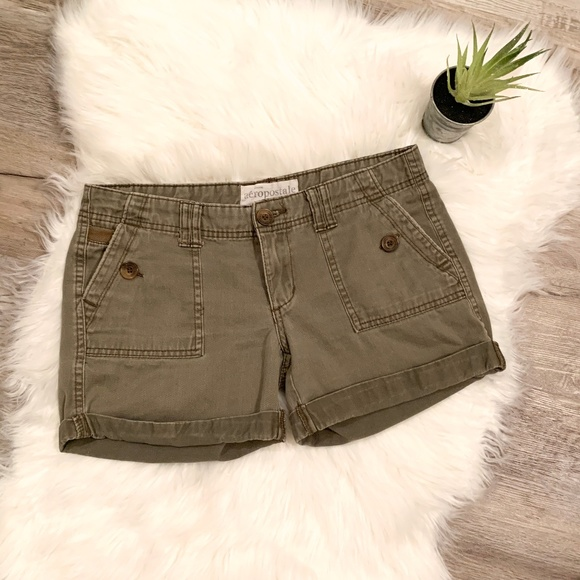 Aeropostale Pants - Cuffed Army Green Shorts with Button Detail